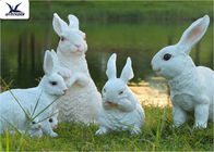 Simulation Fiberglass Rabbit Garden Ornament , Full Size Garden Statues